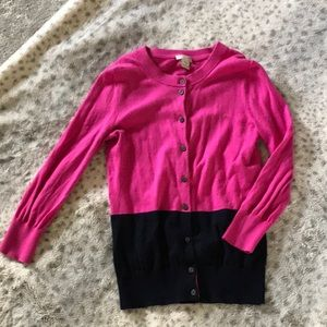 J Crew Clare cardigan in pink and navy